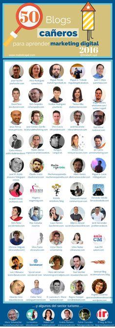 50 blogs destacados para aprender marketing digital en el 2016. Infografía en español. #CommunityManager