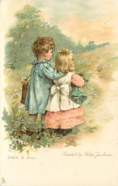JACK AND JILL- Artist: Helen Jackson...Card Comment-come opt. in blue A HAPPY NEW YEAR TO YOU!, same image German back BRUDERLEIN UND SCHWESTERLEIN...First Use:	30/12/1905