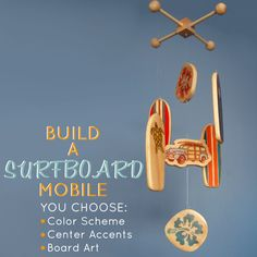 Just in time for Summer babies!  Put together your own surfboard mobile with color schemes, accent pieces and surfboard art to choose from.
