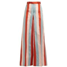REDValentino Striped wide-leg satin-gabardine trousers (€200) ❤ liked on Polyvore featuring pants, bottoms, trousers, pink multi, striped wide-leg pants, high waisted trousers, patterned flare pants, flared pants and high waisted wide leg pants
