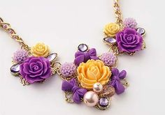 Purple and yellow floral statement necklace - Cute new jewelry line from Cathie & Steve - find in select Michaels locations - includes trendy components to make your own jewelry Diy Jewelry Necklace, Floral Necklace, Old Jewelry, Jewelry Crafts, Beaded Jewelry, Jewlery, Necklaces, Jewelry Ideas, Polymer Clay Flowers