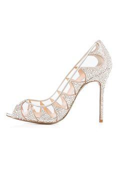 \Sheoespie Mesh Rhinestone Peep-toe Stiletto Heels - Shoespie.com