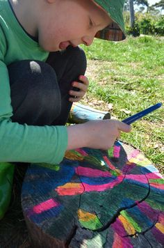 Favourite Outdoor 'Un-Toys': painting stumps, hammering nails into logs and more ideas.