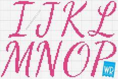 Letras I, J, K, L, M, N, O e P para ponto cruz