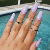 60 newest coffin nails designs short coffin nails; Lilac Nails Design, Purple Nail Designs, Colorful Nail Designs, Purple Nails, Acrylic Nail Designs, Colorful Nails, Spring Nail Colors, Spring Nails, Summer Nails