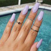 60 newest coffin nails designs short coffin nails; Lilac Nails Design, Purple Nail Designs, Colorful Nail Designs, Purple Nails, Acrylic Nail Designs, Colorful Nails, Summer Acrylic Nails, Summer Nails, Spring Nails
