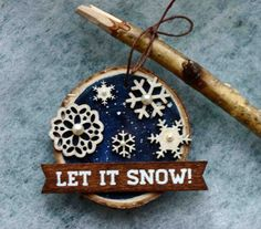 Christmas Holiday Ornament, birch wood slice, let it snow, snowflakes, winter, snow, blue and white, Buffalo, New York, round, pearls