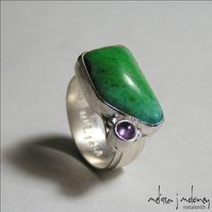 Metalsmith Jewelry Designs - Gem Chrysocolla and Amethyst Ring