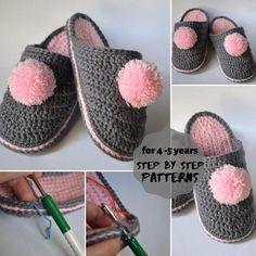 Crocheted slippers pattern crochet winter slippers for baby girl 4 - 5 years, Slouch Hat Crochet Pattern, Crochet Slipper Pattern, Crochet Patterns For Beginners, Easy Crochet Patterns, Pdf Patterns, Tunisian Crochet, Crochet Yarn, Baby Shoes Pattern, Shoe Pattern
