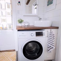 We love our bathroom! Being able to do laundry in our own home is pretty sweet.    #goodandtiny