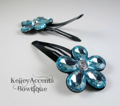 Blue Flower Snap Clips by KABowtique on Etsy,