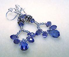 Purple Crystal Earrings - Crystal Jewelry - Silver Dangle Earrings with Tanzanite Swarovski Teardrops and Beads - Handmade. $30.00, via Etsy.