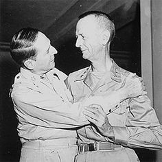 31 Aug 45: Lt General Jonathan Wainwright, the highest-ranking American POW of the war, is reunited with Gen Douglas MacArthur at the New Grand Hotel in Yokohama, Japan, after more than three years of brutal captivity by the Japanese. More: http://scanningwwii.com/a?d=0831&s=450831 #WWII
