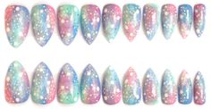 Pastel Galaxy Design w/ Holographic Glitter Stiletto by NailFreak