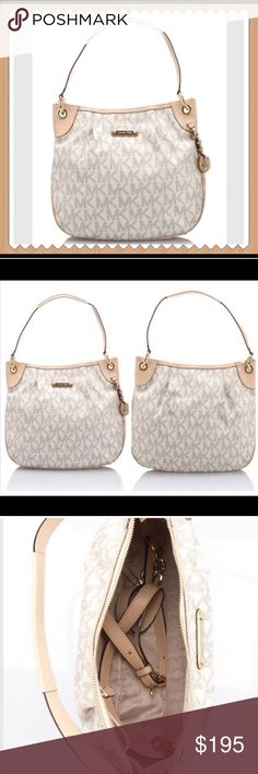 """HOST PICKNWT Vanilla MK bag w/Dustbag Vanilla Michael Kors Crossbody Bag w/Dustbag  Length-14"""" Height-12"""" Depth-3"""" Handle Drop-8"""" Includes longer leather & chain shoulder/Crossbody strap. This beauty boasts a tan MK satin interior with 1 zip compartment and 4 multifunction pockets. Also has an interior key ring strap and gold hardware. Michael Kors Bags"""