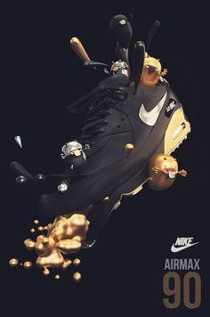 NIKE AIRMAX 90 by AARON MARTINEZ, via Behance #3D #design #poster