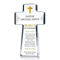 Cross gift plaques for pastor appreciation. We offer personalized cross plaques celebrating pastoral achievements/anniversaries with sample thank you wording ideas. Pastor Appreciation Gifts, Gifts For Pastors, Crystal Cross, Unique Gifts, Awards, Diy, Crafts, Original Gifts, Bricolage