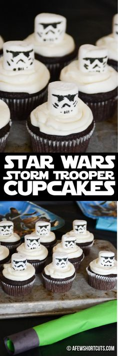 Having a Star Wars Party? Check out just how simple these Star Wars Storm Trooper Cupcakes are to make! Such an easy recipe!  #disney #disneyrecipes #diy #starwars #starwarsrecipes