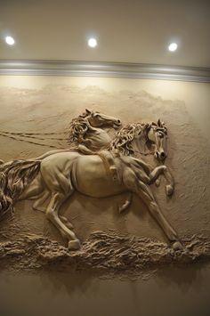 Paris Wall Art, Mural Wall Art, Horse Sculpture, Animal Sculptures, Plaster Art, Ganesha Art, Wood Carving Art, Lion Art, Equine Art