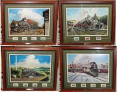 Framed Postal Commemorative Society Set Jim Deneen Collectible Railroad Stamps