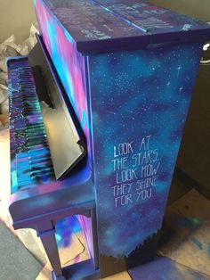 Graffiti painted piano with Coldplay song lyric. Visit Hayden Griffiths Music for more - haydengriffithsmusic@outlook.com