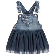 Girls blue denim chambray dress from Lapin House. Made in lightweight cotton, this empire line design has shoulder straps and grosgrain ribbon decorations in red and navy blue with gem centres. The front is pleated and embroidered with red lobsters.At the back is a key-hole cut-out, with bows, a button fastening and a zip at the side.
