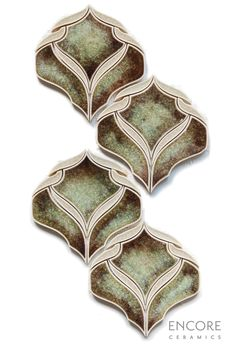 Encore Ceramics | Belvedere mosaic hand-glazed in Balsamic quartz with ribbons in Martini jewel | Sustainably made in Oregon