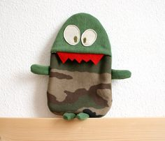 Alfred Comando hot water bottle cover by HappyMonstersLand on Etsy, $26.00