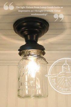 Your Lighting Options Mason Jar Light Fixture, Mason Jar Lighting, Mason Jar Lamp, Farmhouse Kitchen Light Fixtures, Kitchen Lighting Fixtures, Farmhouse Lighting, Rustic Kitchen, Farmhouse Decor, Kitchen Decor