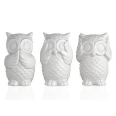 3 Wise Owls from Z Gallerie- spray paint tranquility color and put on shelf in spare bathroom