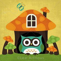Bright Owl in Mushroom House 6x6 Print by leearthaus on Etsy