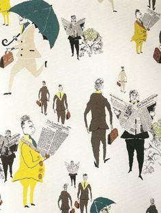 London City Gents wallpaper is as British in feel. Drawing inspiration from 1950s illustrations, it captures a particular breed of gentlemen on their way to work, armed with the essentials of tie, umbrella, newspaper and briefcase.