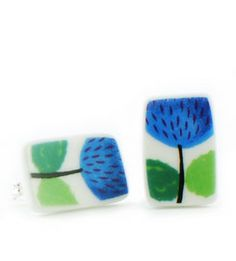 Earrings Prunus - Earrings manufactured from recycled porcelain.