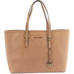 Pre-owned Michael Michael Kors Jet Set Travel Tan Leather Tote ($253) ❤ liked on Polyvore