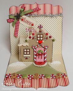 The Dining Room Drawers: Karen Burniston's December Designer Pop 'n Cuts Challenge - Gingerbread House Card