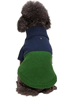 a14d33d28 Blueberry Pet Classic Colorblock Dog Sweater in Midnight Blue and Sea  Green, Back Length Pack of 1 Clothes for Dogs ❤ Blueberry Pet