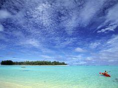 Kayaker, Muri Beach, Rarotonga, Cook Islands Photographic Print by Walter Bibikow at AllPosters.com