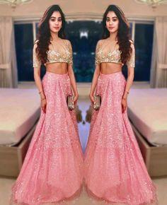 Jhanvi Kapoor looks pretty donning a sheer blouse and shimmery pink lehenga. Mehndi, Henna, Indian Attire, Indian Ethnic Wear, Indian India, Indian Lehenga, Lehenga Choli, Anarkali Frock, Indian Dresses