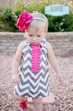 Summer Girls Chevron Halter Dress with Pink by bbellecouture, $54.80
