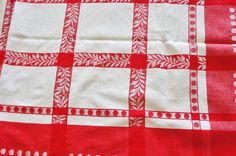 Bright Bold Red White Vintage Tablecloth 49 x 47 Vintage Tablecloths, Linens, Red And White, 1950s, Bright, Ebay, Vintage Table Linens, Bedding