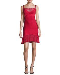 Lace-Inset Bandage Slip Dress, Red