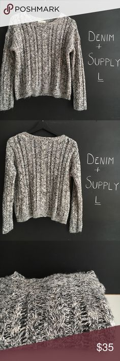 """Denim & Supply by Ralph Lauren Crop Sweater large Denim & Supply by  Ralph Lauren Cable Knit  Crop Sweater size large.  Chest 21"""" length 20"""".  For reference i am 5'5 34B i usually wear small/ Medium.  This does not fit me as a crop. Color is heather grey/ white/ black .  Small matter k onntoo back neckline (imo may come out with clenaing) shown otherwise Excellent preowned condition no rips, tears or pulls 👍OFFERS Welcome 🚫no trades pls Denim & Supply Ralph Lauren Sweaters Crew & Scoop…"""