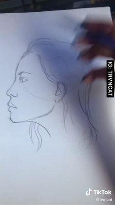 Art Drawings Sketches Simple, Pencil Art Drawings, Easy Drawings, Drawing Art, Diy Canvas Art, Drawing Techniques, Art Sketchbook, Aesthetic Art, Art Tutorials