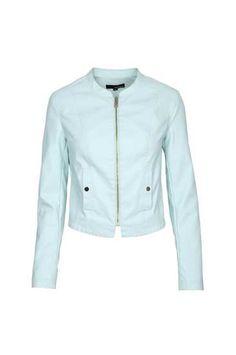 Pastel Blue Leather Biker Jacket