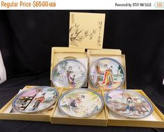 Best Sale Ever Bradford Exchange collection of 5 Japanese Plates Beauties of the Red Mansion