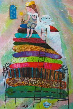 Princes and the Pea - by © Anna Silivonchik ~ (children's art, illustrations… Art And Illustration, Art Illustrations, Pinterest Arte, Princess And The Pea, Kids Story Books, Hans Christian, Naive Art, Bunt, Illustrators