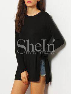 Black Long Sleeve Split T-Shirt 11.99