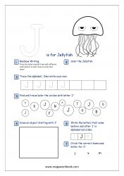 Alphabet Recognition Activity Worksheet - Capital Letter - J For Jellyfish Letter Writing Worksheets, Alphabet Writing Practice, Alphabet Tracing, Worksheets For Kids, Printable Alphabet, Free Printable, Preschool Activity Sheets, Preschool Lesson Plans, Alphabet Activities