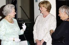 HM Queen Elizabeth, Dame Maggie Smith, Dame Judy Dench. Maggie and Judy look so excited to be speaking with The Queen!
