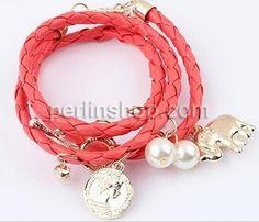 Leder Armband, mit Kristall & Glasperlen, Platinfarbe platiniert, 3-Strang & mit Strass, gemischte Farben, frei von Nickel, Blei & Kadmium